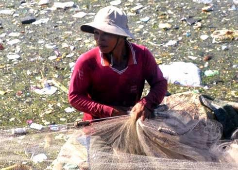 Dân Lý Sơn đổ rác xuống biển