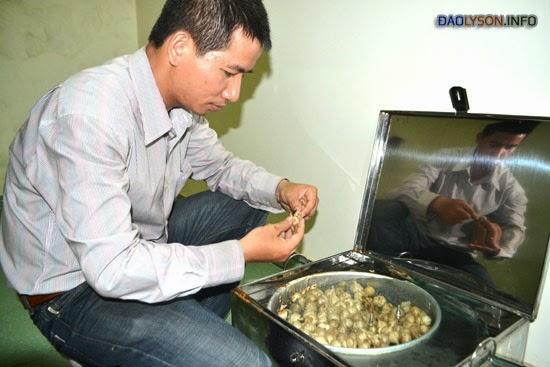 Anh Nguyễn Quyết Thắng kiểm tra tiêu chuẩn của tỏi.