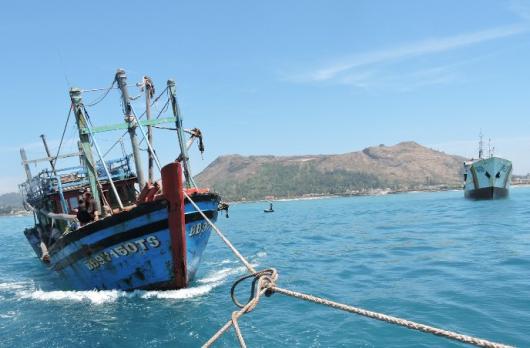 Tàu cá bị nạn được lai dắt về huyện đảo Lý Sơn an toàn