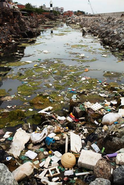 Đủ mọi rác thải nổi lềnh bềnh.