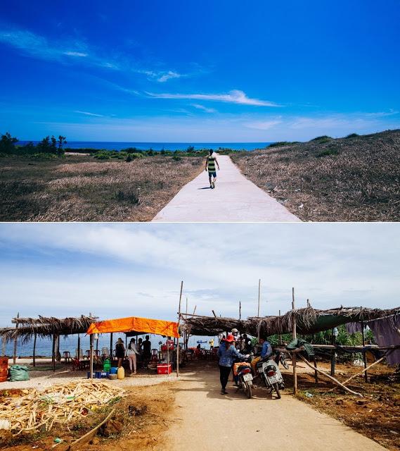 Con đường nhỏ dẫn ra bãi tắm ở đảo Bé không một bóng người, chỉ có trời xanh và nghe mặn mà mùi gió biển, giờ thì bị chắn ngang thế này.