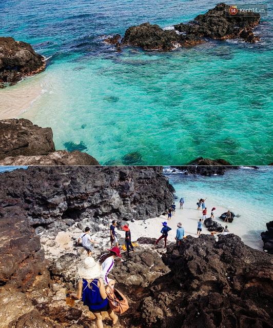 """Và bãi tắm """"tiên"""" ở đảo Bé cũng bắt đầu nhộn nhịp du khách."""