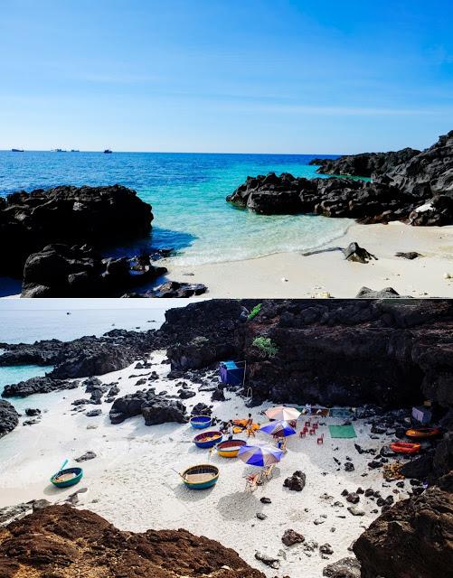 Những chiếc ghế nhựa, ô dù dựng ngay tại bãi tắm vốn hoang sơ ngày trước, đi kèm là những dịch vụ cho thuê đồ tắm, thuyền phao, kính lặn ngắm san hô...