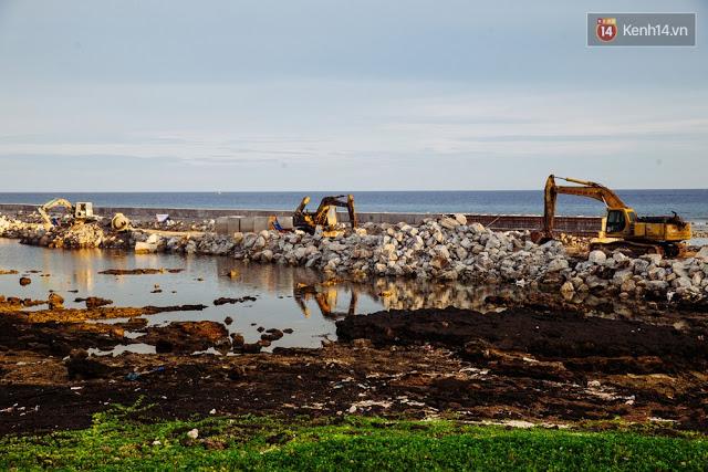 Lý Sơn hiện tại như một đại công trường. Trong ảnh là dự án đường cơ động phía Đông Nam đảo Lý Sơn đang được xây dựng.