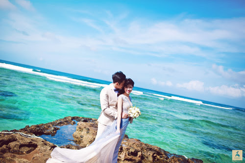 Bộ ảnh cưới của Như Quỳnh và Tiến Lâm được thực hiện tại Lý Sơn