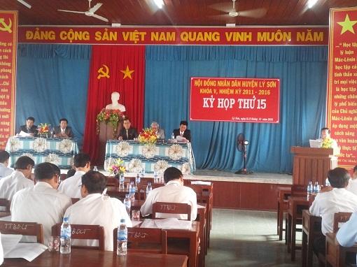 HĐND Huyện Lý Sơn tổ chức kỳ họp lần thứ 15 khóa V, nhiệm kỳ 2011-2016 (kỳ họp cuối năm 2015)