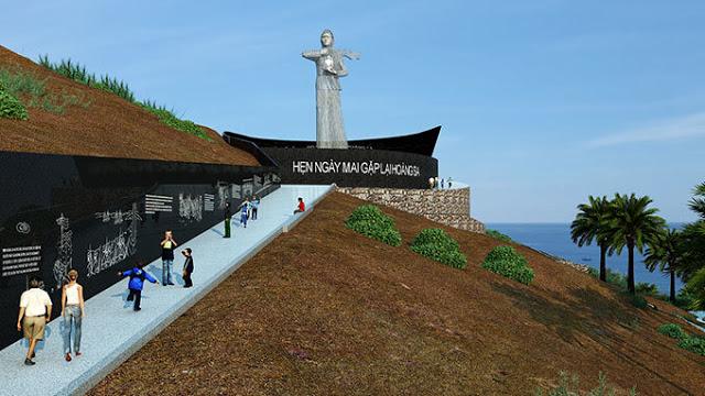 """Mô hình phác thảo Khu tưởng niệm Hoàng Sa với hình ảnh """"Người mẹ thắp lửa"""" của KTS Trần Văn Dũng"""