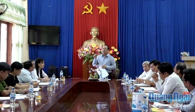 Phó Bí thư Thường trực Tỉnh ủy Nguyễn Thanh Quang phát biểu tại buổi làm việc