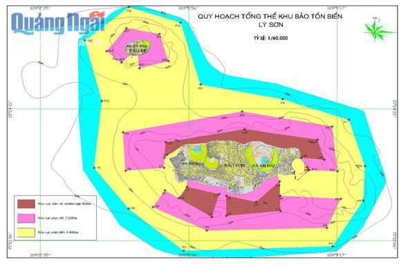 Bản đồ quy hoạch Khu bảo tồn biển Lý Sơn.
