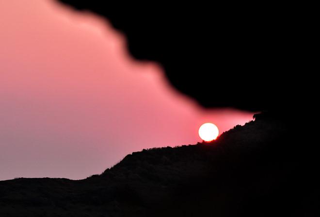 Hoàng hôn trên đỉnh núi lửa Thới Lới, huyện đảo Lý Sơn.