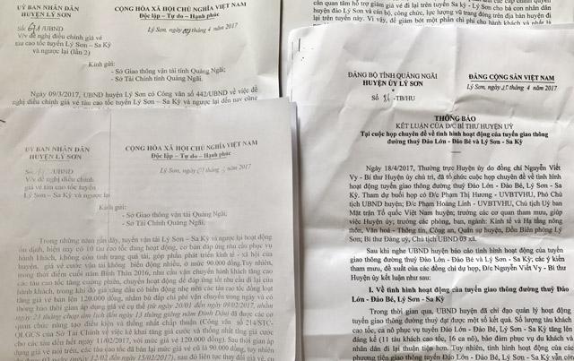 Những văn bản mà chính quyền Lý Sơn gửi cấp thẩm quyền tỉnh đề nghị giảm giá vé tàu khách.