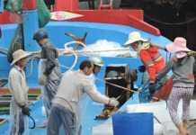 Nhiều tàu cá của ngư dân tranh thủ lấy thêm đá lạnh, tiếp thêm nhiên liệu để vươn khơi ngày cận tết