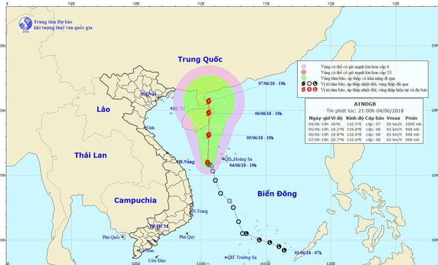 Đường đi của bão - Ảnh: Trung tâm Dự báo khí tượng thủy văn trung ương