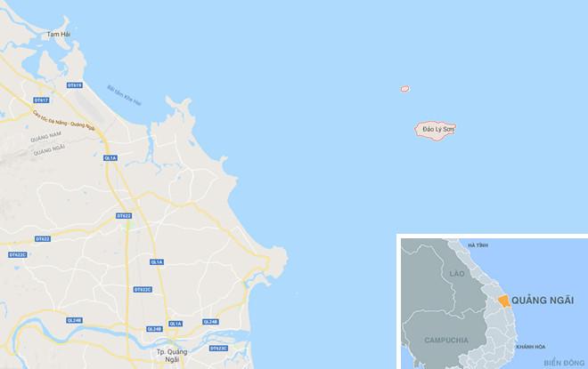 Vùng biển huyện đảo Lý Sơn. Quảng Ngãi (vòng đỏ), nơi xảy ra vụ việc. Ảnh: Google Maps.