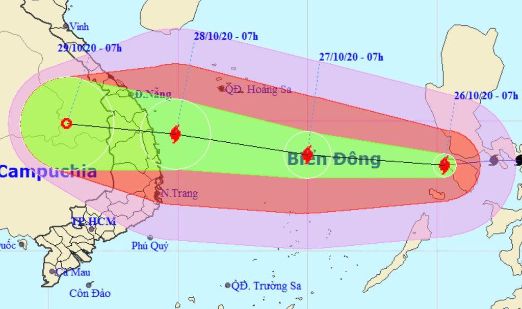 Dự báo đường đi của bão số 9 trong bản tin khẩn cấp lúc 9h sáng 26/10.