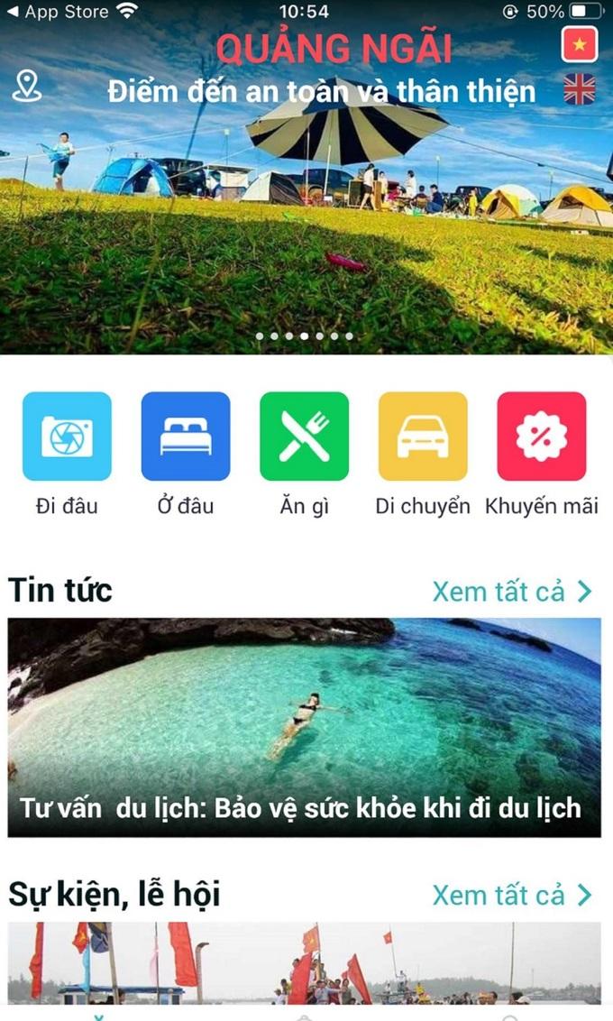 Giao diện của ứng dụng có nhiều hình ảnh đẹp, màu sắc tươi sáng làm nổi bật đặc trưng du lịch biển đảo.