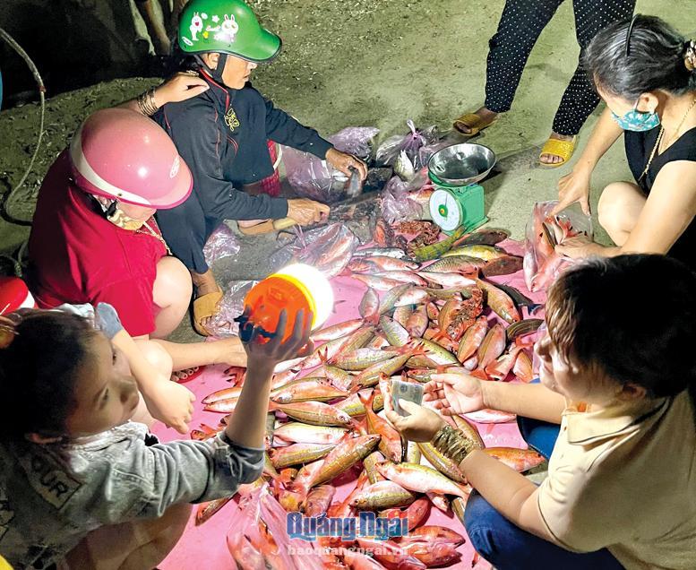Một góc chợ cá đêm ở Lý Sơn