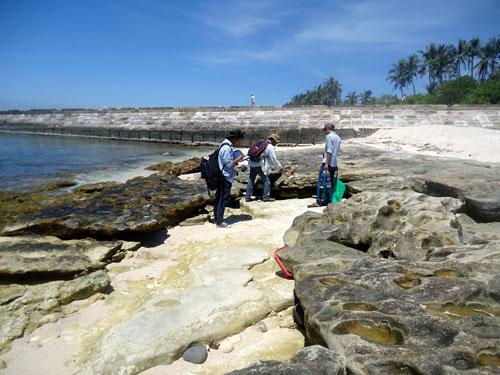 Các nhà khoa học khảo sát địa chất tại Lý Sơn để làm hồ sơ trình UNESCO