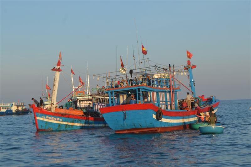 Các tàu cá lưới vây rút chì sau một đêm đánh bắt cập cảng bán cá vừa khai thác.