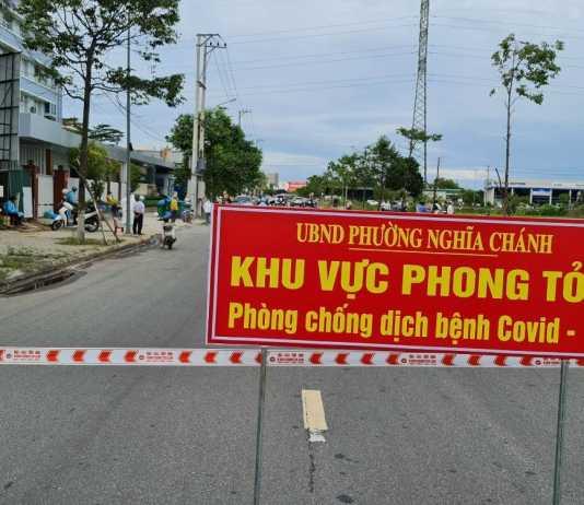 Phong tỏa một khu vực liên quan đến ca mắc Covid-19 tại phường Nghĩa Chánh.